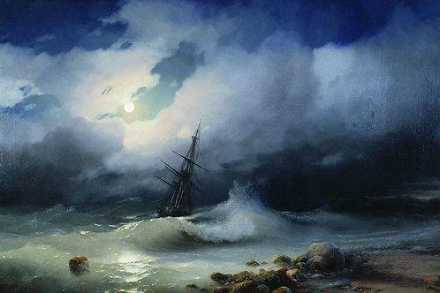 Бурное море ночью. 1853, 30х40 см.