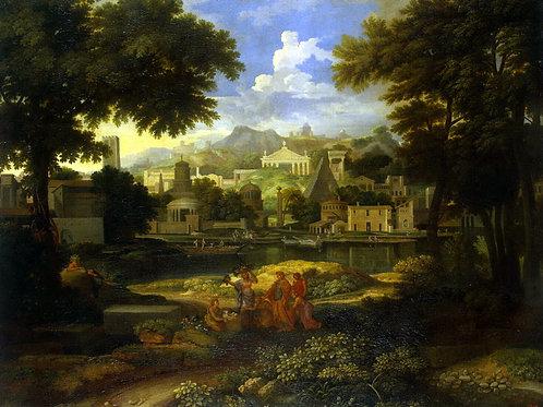 Аллегрен, Пейзаж с Моисеем, 30х40 см.