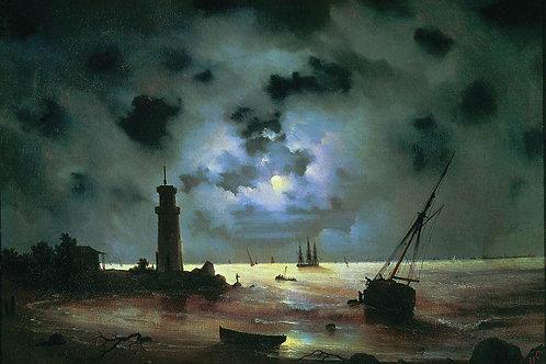 Берег моря ночью. У маяка. 1837 30х40