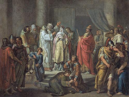Крещение княгини Ольги в Константинопол, 30х40 см.