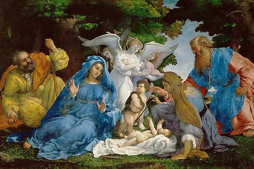 Лотто, Святое Семейство с тремя ангелами 30х40 см.