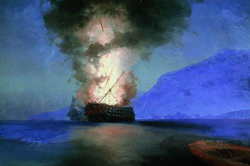Взрыв корабля. 1900, 30х40 см.
