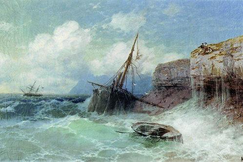 Буря на море. 1880, 30х40 см.