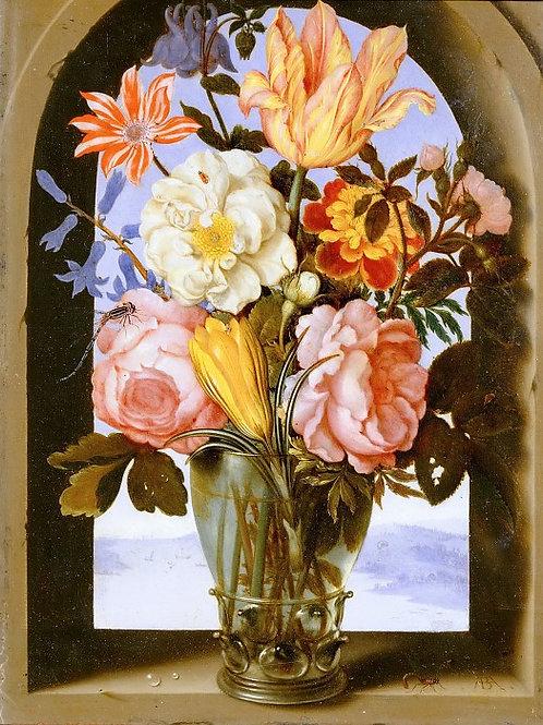 Босхарт,- Букет цветов в нише каменного , 30Х40см.