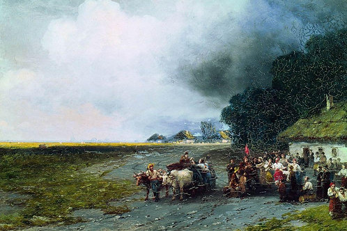 Свадьба на Украине. 1892, 30х40 см.