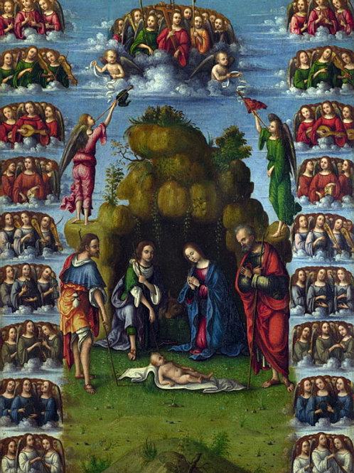 Лоренцо Коста - Поклонение пастухов с а, 30х40 см.
