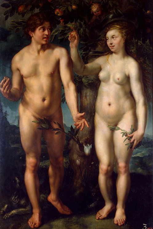 Голциус, Адам и Ева, 30х40 см.
