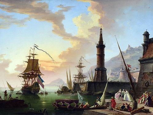 Клод-Жозеф Верне - Морской порт, 30х40 см.
