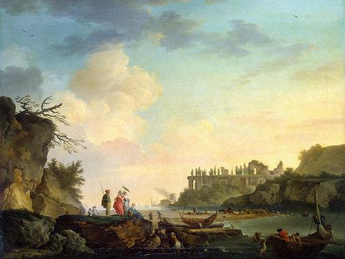 Верне, Развалины у устья реки, 30х40 см.