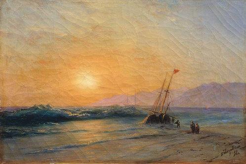 Заход солнца на море. 1898, 30х40 см.