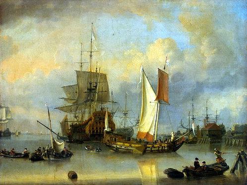 Ритсхоф, Ян Клас - Корабли в море в тих, 30х40 см.