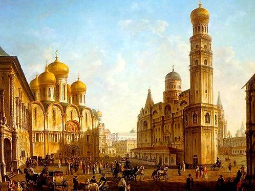 Соборная площадь в Московском Кремле,  30х40 см.