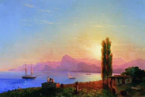 Закат на море. 1856, 30х40 см.