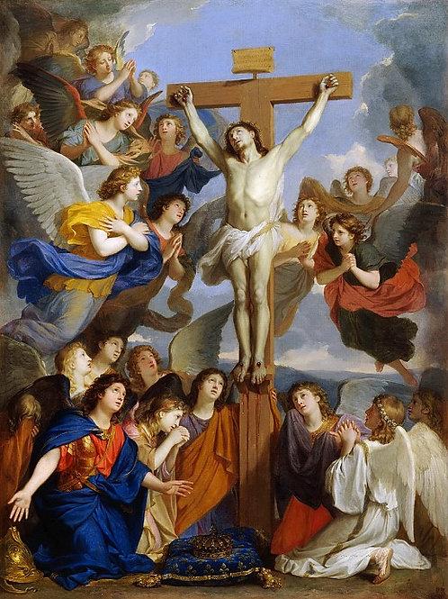 Лебрен, Шарль  Распятие с ангелами,30х40 см.