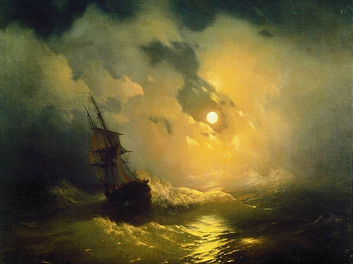 Буря на море ночью. 1849, 30х40 см.