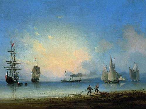 Русский и французские фрегаты. 1858