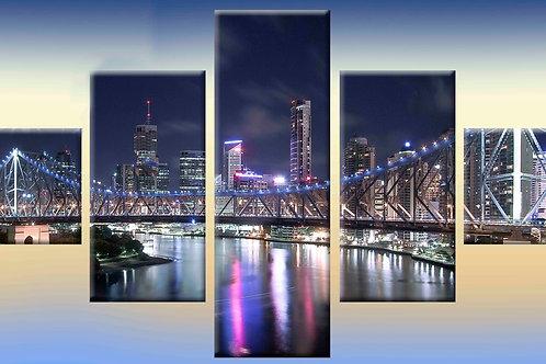 ночной мост 100% натур. холст, подрамник.
