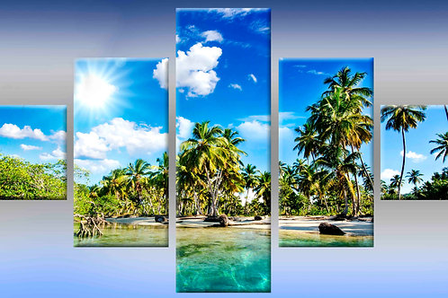 райский остров, 100% натур. холст, подрамник.