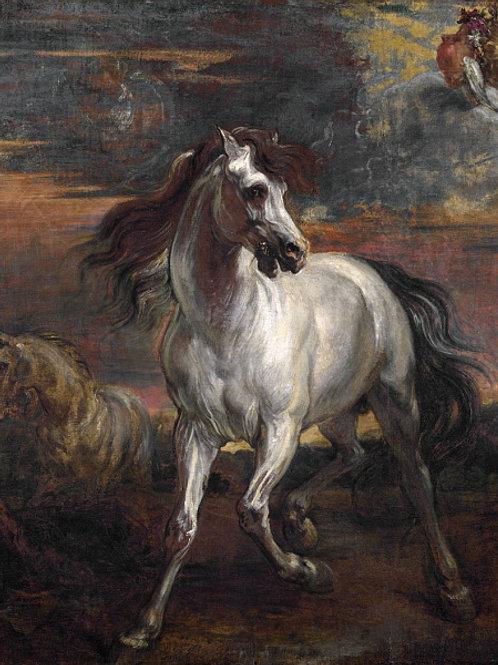 Антонис ван Дейк (манера) - Конь Ахилле, 30х40 см.