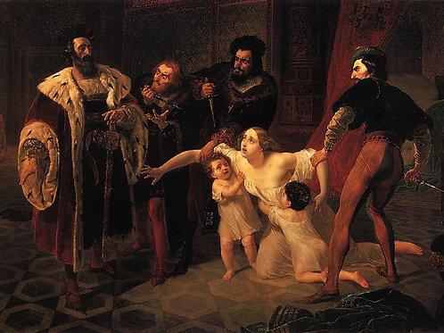 Смерть Инессы де Кастро. 1834, 30х40 см.