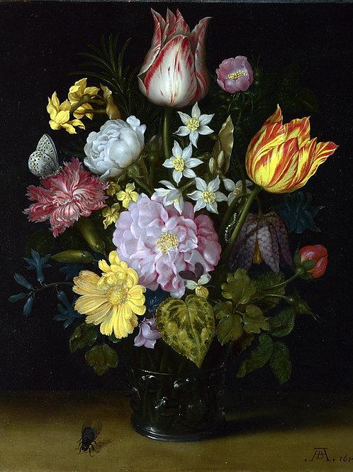 Амбросиус Босхарт I - Цветы в стеклянно, 30х40 см.