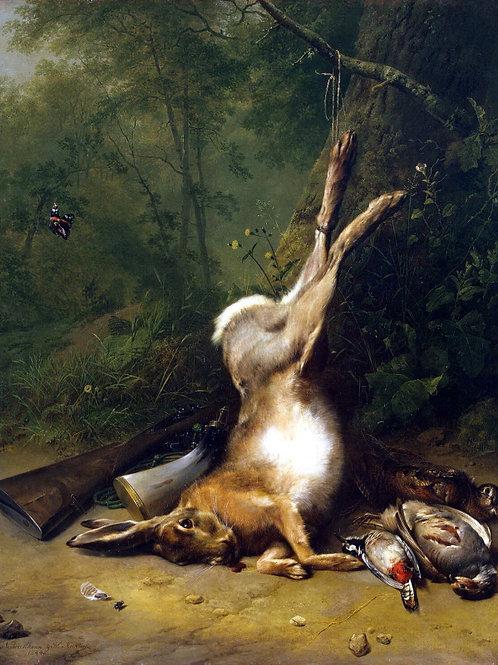 Вербукховен, Натюрморт с зайцем, 30х40 см.