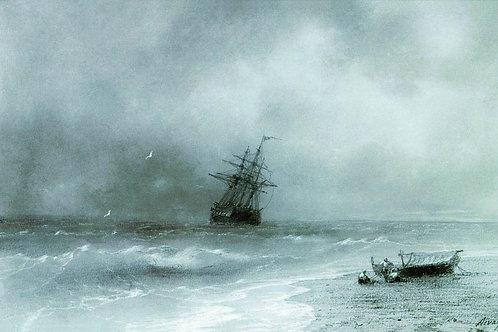 Бурное море. 1844, 30х40 см.