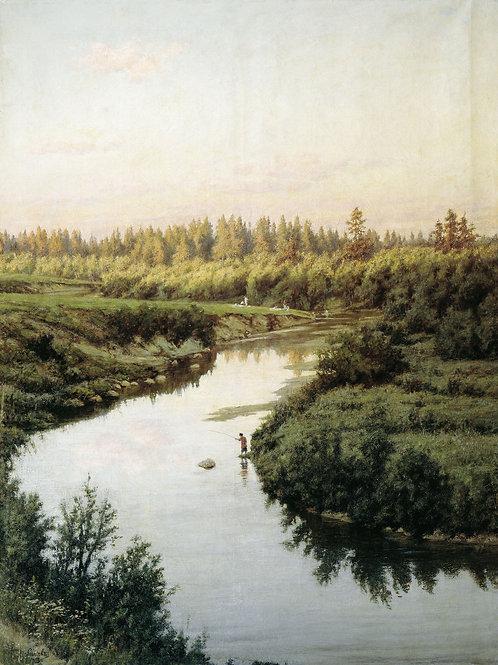 Пейзаж с рекой. 1900,   30х40 см.