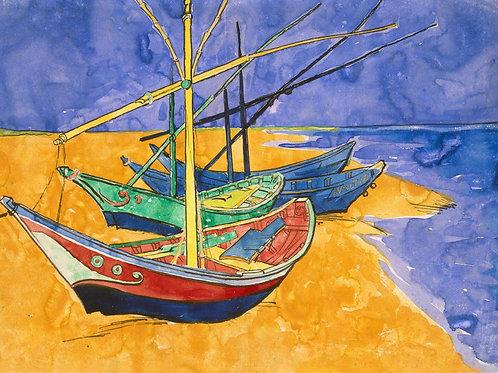 Ван Гог, Лодки в Сент-Мари, 30х40 см.
