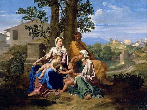 Пуссен, Св семейство со свв Елизаветой и 30х40 см.