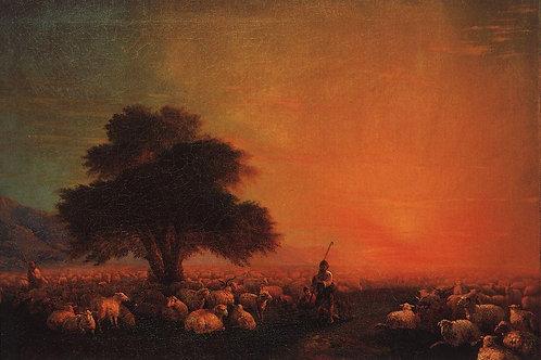 Овцы на пастбище. 1850-е, 30х40 см.