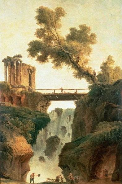 Юбер, Робер - Пейзаж с водопадом, 30х40 см.