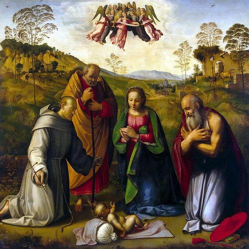 Гирландайо, Поклонение младенцу со св. , 30х40 см.