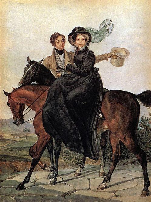 Портрет К.А. и М.Я.Нарышкиных. 1827.  30х40 см.