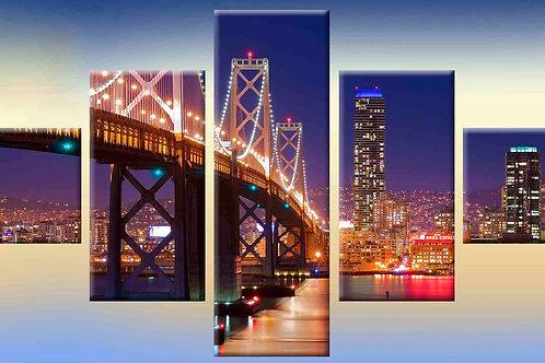 мост ночью, 100% натур. холст, подрамник.