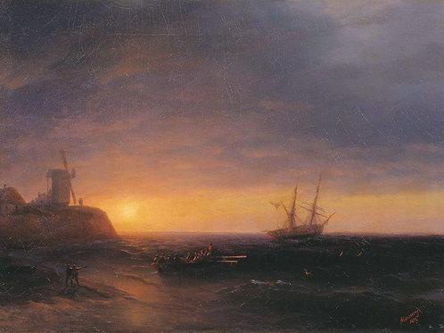Закат на море. 1878, 30х40 см.