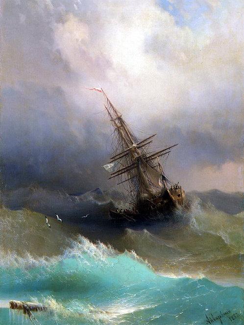 Айвазовский,  Корабль среди бурного мор, 30х40 см.