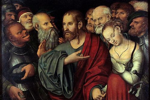 Кранах, Лукас Младший - Христос и блудн, 30х40 см.