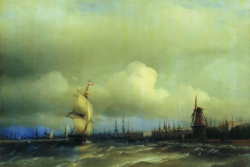 Вид Амстердама. 1854, 30х40 см.