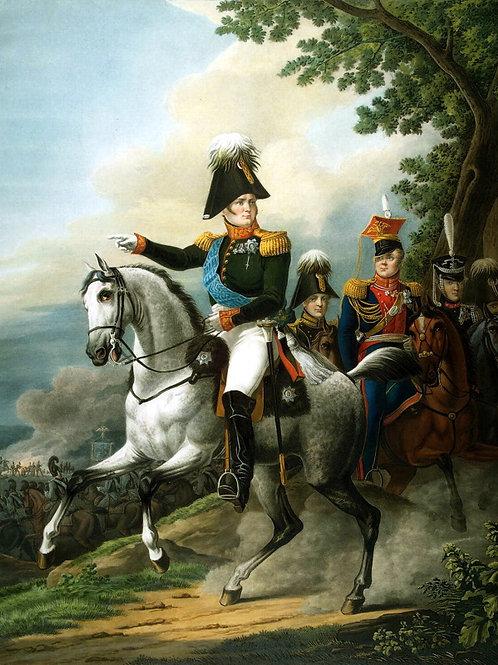 Поль, Л. - Конный портрет Александра I, 30х40 см.