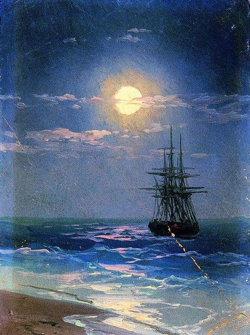 ночь на море,30х40
