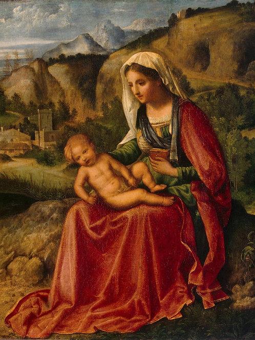 Джорджоне - Мадонна с Младенцем в пейза, 30х40 см.