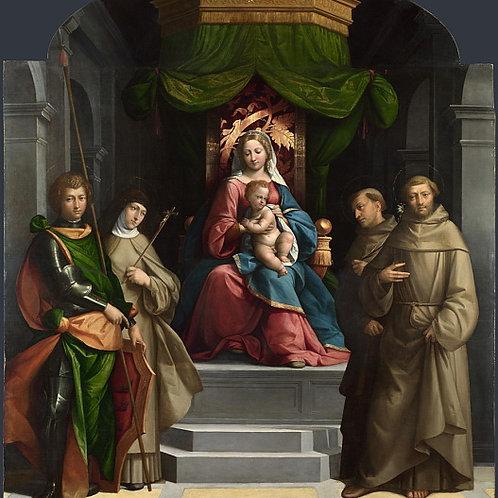Гарофало - Мадонна с Младенцем на троне, 30х40 см.