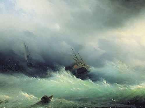 Бурное море. 1860, 30х40 см.