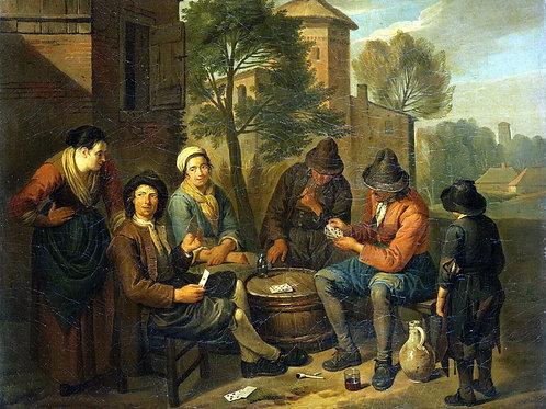 Блумен,  Крестьяне, играющие в карты, 30х40 см.