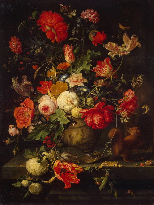 Миньон, Абрагам - Цветы в вазе,  30х40 см.