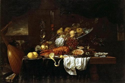 Сон, Йорис ван - Омар, устрицы и фрукты, 30х40 см.