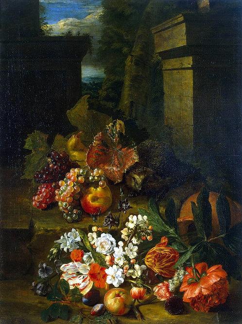 Снейерс, Петер - Цветы, фрукты и еж, 30х40 см.