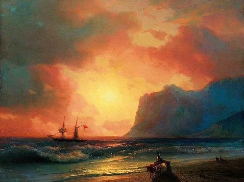 Заход солнца на море. 1866, 30х40 см.