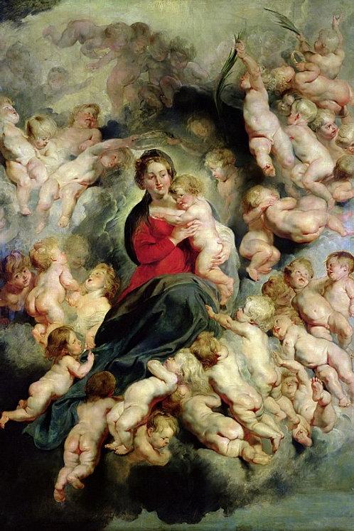 Рубенс, - Мадонна с Младенцем в окружени, 30Х40см.
